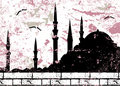 Vintage grunge mosque silhouette raster Royalty Free Stock Photo