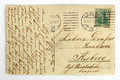 Vintage grunge post card with handwriting letter with shadows antique Stock Images