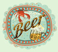 Vintage grunge style beer poster. Beer label with cancer and a mug of beer. Vector illustration. Royalty Free Stock Photo