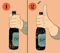 Vintage grunge style beer poster humorous poster instruction for opening the a bottle of beer hand hold a bottle of beer vector Stock Photo