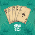 Vintage grunge style casino poster with playing cards. Royal flush in spades. Retro vector illustration. Royalty Free Stock Photo
