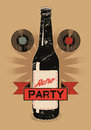 Vintage grunge style poster for retro party with a beer bottle vector illustration Stock Images