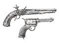 Vintage Gun. Retro Pistol, Musket. Hand-drawn sketch of a Revolver, Weapon, Firearm