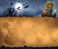 Vintage halloween background acrylic illustration of a with old paper texture and characters Stock Photography