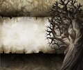 Vintage halloween background acrylic illustration of a with old paper texture and crooked trees Stock Photos