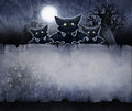 Vintage halloween background acrylic illustration of a with old paper texture and crooked trees Royalty Free Stock Images