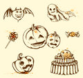 Vintage halloween elements set of hand drawn Royalty Free Stock Photo