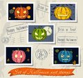 Vintage halloween post stamps set vector illustration eps Stock Images