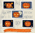 Vintage halloween post stamps set vector illustration eps Royalty Free Stock Photography