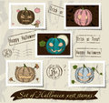 Vintage halloween post stamps set vector illustration eps Royalty Free Stock Images