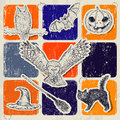 Vintage halloween poster with pumpkin owl bat etc vector illustration eps Stock Photography