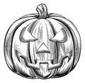Vintage halloween pumpkin an illustration of a in a retro woodblock or woodcut etching style Royalty Free Stock Images