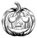 Vintage halloween pumpkin a in a retro woodblock or woodcut etching style Stock Photography
