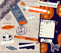 Vintage halloween scrapbooking set vector illustration eps Royalty Free Stock Photo