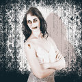 Vintage halloween spook on grunge background old fashion monster standing with arms folded wallpaper in a nightmare concept Royalty Free Stock Images