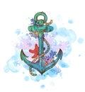 Vintage hand drawn anchor