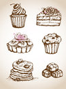 Vintage hand drawn cakes Royalty Free Stock Photo