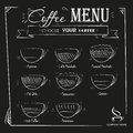 Vintage hand drawn coffee menu on black background Royalty Free Stock Photo