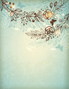 Vintage hand drawn floral background decorative Stock Photo