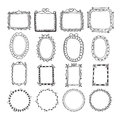 Vintage hand drawn frames in vector. Doodle set of design Royalty Free Stock Photo