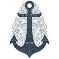 Vintage hand drawn logo flourish anchor. Vector illustration. Royalty Free Stock Photo