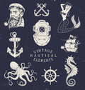 Vintage hand drawn nautical set Stock Photos