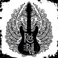 Vintage hand drawn poster with electric guitar, ornate wings and lettering rock and roll on grunge background. Royalty Free Stock Photo