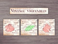 Vintage hand drawn  set of vegetables flashcards on wooden backdrop.Tomato, cucumber, pepper Royalty Free Stock Photo