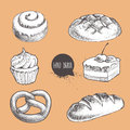 Vintage hand drawn sketch fresh style bakery set.