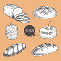 Vintage hand drawn sketch style fresh bakery set. Bread, sliced bread, bun, loaf, cake with cherry