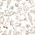 Vintage hand drawn toys pattern seamless with doll airplane whirligig rocket Royalty Free Stock Image