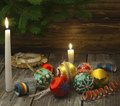 Vintage handmade Christmas decorations Stock Image