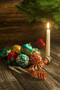 Vintage handmade Christmas decorations Stock Photos