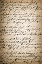 Vintage handwriting page of old poetry book aged paper backgro manuscript background Stock Image