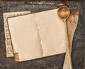Vintage handwritten recipe book and old kitchen utensils Royalty Free Stock Photo