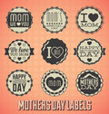 Vintage Happy Mothers Day Labels and Icons Stock Photo