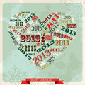 Vintage Happy New year 2013 concept heart Stock Photo