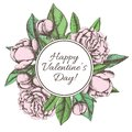 Vintage Happy Valentines Day card with hand drawn botanical peon Royalty Free Stock Photo