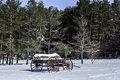 Vintage hay wagon in snow a rests the duanesburg new york Royalty Free Stock Image