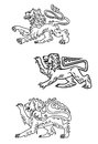 Vintage healdic lions set medieval for heraldry or mascot design Royalty Free Stock Images