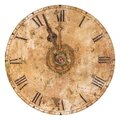Vintage and heavily weathered clock face with time set to a few minutes to twelve o clock isolated on white Royalty Free Stock Photo