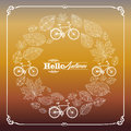 Vintage hello autumn text leaves and bikes background eps file with bicycles hand drawn in circle composition frame organized in Royalty Free Stock Photography