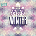 Vintage hello winter poster vector illustration Royalty Free Stock Photo