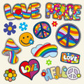 Vintage hippie patches vector set of flower and heart element with color pattern illustration Royalty Free Stock Photos