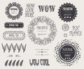 Vintage hipster design elements, elegant difficult frames and signs natural roduct, premiun quality, coffee, tea, wow Royalty Free Stock Photo