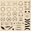 Vintage hipster logo elements with arrows,ribbons,feathers, laurels, badges. Emblem template constructor. Iicon creator.