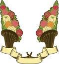 Vintage horn of plenty, flowers Royalty Free Stock Photo