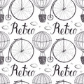 Vintage hot air balloon and bicycle pattern hand drawing Royalty Free Stock Photography