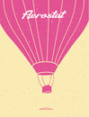 Vintage Hot Air Balloon. Silhouette. Postcard.Aerostat. Vector F