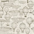 Vintage hot air balloons floating in the sky. Trendy seamless background, wallpaper. Monochrome in shades of sepia. Royalty Free Stock Photo